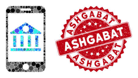 Mosaic mobile bank and distressed stamp watermark with Ashgabat phrase. Mosaic vector is designed with mobile bank icon and with random spheric elements. Ashgabat stamp seal uses red color,