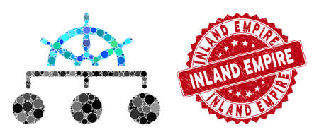 Mosaic rule structure and corroded stamp seal with Inland Empire phrase. Mosaic vector is formed with rule structure icon and with random circle items. Inland Empire seal uses red color,