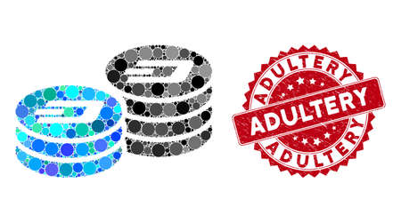 Mosaic Dash coin columns and corroded stamp watermark with Adultery phrase. Mosaic vector is formed with Dash coin columns icon and with randomized round items. Adultery stamp uses red color,
