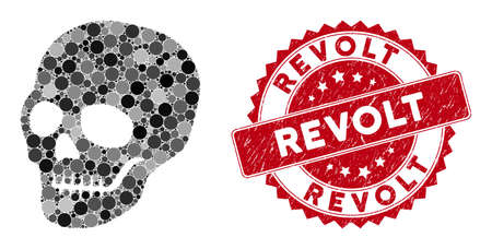 Mosaic skull and distressed stamp seal with Revolt caption. Mosaic vector is formed with skull icon and with scattered spheric elements. Revolt seal uses red color, and dirty surface. Illusztráció