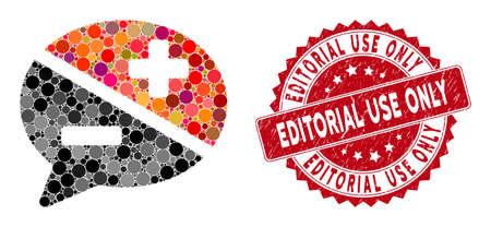 Mosaic arguments and distressed stamp seal with Editorial Use Only phrase. Mosaic vector is composed with arguments icon and with randomized circle spots. Editorial Use Only stamp seal uses red color,