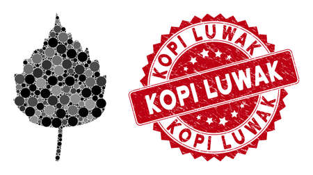 Mosaic birch leaf and grunge stamp watermark with Kopi Luwak text. Mosaic vector is formed with birch leaf icon and with randomized round spots. Kopi Luwak stamp uses red color, and grunge surface.