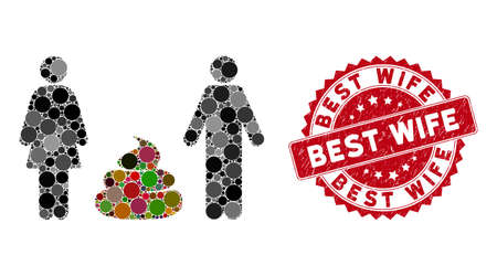 Mosaic family shit and rubber stamp seal with Best Wife caption. Mosaic vector is designed with family shit icon and with scattered circle elements. Best Wife stamp seal uses red color, Illustration