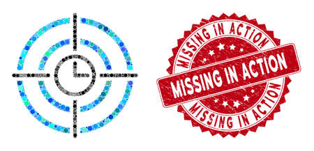Collage time target and distressed stamp seal with Missing in Action phrase. Mosaic vector is designed with time target icon and with randomized spheric items.