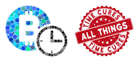 Mosaic Bitcoin credit clock and rubber stamp watermark with Time Cures All Things text. Mosaic vector is formed with Bitcoin credit clock icon and with scattered circle items.