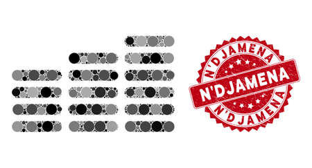 Mosaic coin columns and distressed stamp seal with N'Djamena caption. Mosaic vector is formed with coin columns icon and with random spheric items. N'Djamena stamp uses red color, and grunged design.