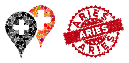 Collage medical map markers and rubber stamp watermark with Aries caption. Mosaic vector is formed with medical map markers icon and with scattered round spots. Aries stamp seal uses red color,