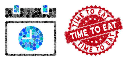 Mosaic time schedule and rubber stamp seal with Time to Eat text. Mosaic vector is designed with time schedule icon and with randomized round items. Time to Eat stamp seal uses red color,