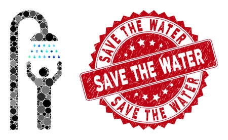 Mosaic man under shower and grunge stamp seal with Save the Water text. Mosaic vector is created with man under shower icon and with randomized circle spots. Save the Water stamp uses red color,