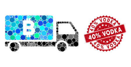 Collage Bitcoin delivery car and grunge stamp seal with 40% Vodka phrase. Mosaic vector is created with Bitcoin delivery car icon and with scattered circle spots. 40% Vodka stamp seal uses red color, Ilustração