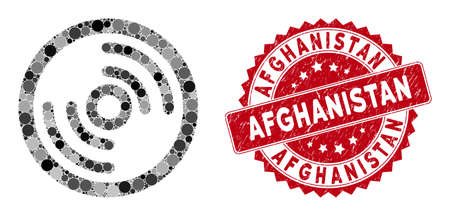 Mosaic disc and grunge stamp seal with Afghanistan phrase. Mosaic vector is composed from disc icon and with randomized spheric items. Afghanistan stamp seal uses red color, and grunge texture.
