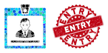 Collage manager badge and corroded stamp seal with Entry caption. Mosaic vector is created with manager badge icon and with randomized spheric elements. Entry stamp seal uses red color,