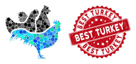 Mosaic chickens and corroded stamp seal with Best Turkey phrase. Mosaic vector is formed with chickens icon and with random round spots. Best Turkey stamp seal uses red color, and dirty design.