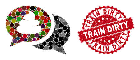Mosaic shit forum and corroded stamp seal with Train Dirty text. Mosaic vector is created with shit forum icon and with randomized circle spots. Train Dirty stamp seal uses red color,