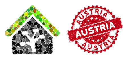Mosaic plant glasshouse and corroded stamp watermark with Austria caption. Mosaic vector is composed with plant glasshouse icon and with scattered circle items. Austria stamp seal uses red color,