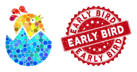 Mosaic hatch chick and grunge stamp seal with Early Bird phrase. Mosaic vector is created with hatch chick icon and with random circle spots. Early Bird stamp seal uses red color, and dirty surface.