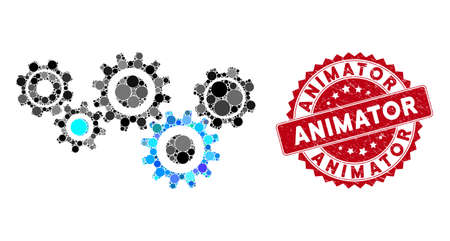 Mosaic gear mechanism and rubber stamp seal with Animator caption. Mosaic vector is composed with gear mechanism icon and with scattered round elements. Animator stamp seal uses red color,