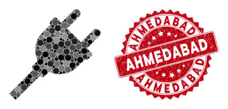 Mosaic electric plug and rubber stamp seal with Ahmedabad phrase. Mosaic vector is created with electric plug icon and with randomized spheric elements. Ahmedabad stamp seal uses red color,