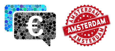 Mosaic Euro messages and corroded stamp seal with Amsterdam phrase. Mosaic vector is designed with Euro messages icon and with random spheric items. Amsterdam stamp seal uses red color,