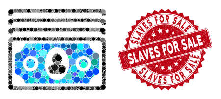 Mosaic banknotes and distressed stamp seal with Slaves for Sale text. Mosaic vector is composed with banknotes icon and with scattered round spots. Slaves for Sale stamp seal uses red color,