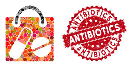 Mosaic drugs shopping bag and grunge stamp seal with Antibiotics text. Mosaic vector is composed with drugs shopping bag icon and with randomized circle items. Antibiotics stamp seal uses red color,