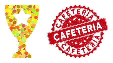 Collage winner cup and grunge stamp seal with Cafeteria caption. Mosaic vector is designed with winner cup icon and with randomized round elements. Cafeteria stamp seal uses red color,