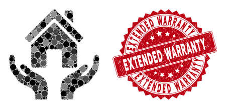 Mosaic house care hands and corroded stamp watermark with Extended Warranty text. Mosaic vector is designed from house care hands icon and with randomized spheric elements.