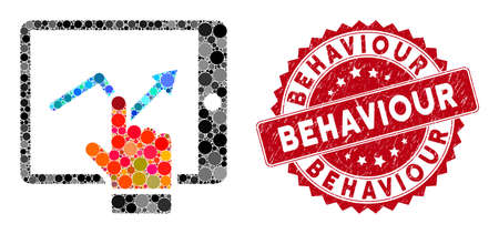 Mosaic tablet report and rubber stamp watermark with Behaviour phrase. Mosaic vector is composed with tablet report icon and with scattered spheric spots. Behaviour stamp seal uses red color,