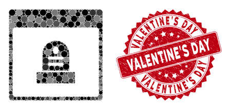 Mosaic memorial tombstone calendar page and corroded stamp seal with Valentine'S Day phrase. Mosaic vector is formed with memorial tombstone calendar page icon and with randomized spheric items. 일러스트