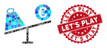 Collage Euro trade swing and grunge stamp seal with Let'S Play caption. Mosaic vector is created with Euro trade swing icon and with randomized circle elements. Let'S Play stamp seal uses red color,