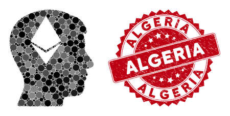 Mosaic Ethereum thinking head and rubber stamp watermark with Algeria text. Mosaic vector is designed with Ethereum thinking head icon and with scattered spheric items.