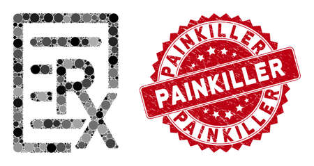Mosaic receipt and grunge stamp watermark with Painkiller caption. Mosaic vector is designed with receipt icon and with scattered circle spots. Painkiller stamp seal uses red color,