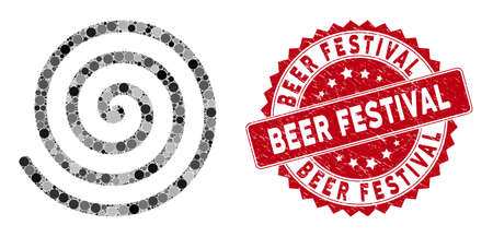 Mosaic spiral and grunge stamp seal with Beer Festival caption. Mosaic vector is composed with spiral icon and with random spheric spots. Beer Festival stamp seal uses red color, and grunged surface.