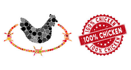 Mosaic chicken farm and rubber stamp seal with 100% Chicken phrase. Mosaic vector is designed with chicken farm icon and with randomized spheric elements. 100% Chicken seal uses red color,