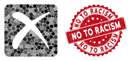 Mosaic reject and corroded stamp seal with No to Racism caption. Mosaic vector is formed from reject icon and with random round elements. No to Racism stamp seal uses red color, and dirty design.