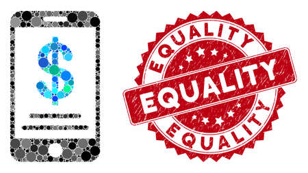 Collage dollar mobile wallet and rubber stamp seal with Equality caption. Mosaic vector is created with dollar mobile wallet icon and with randomized round items. Equality stamp seal uses red color,