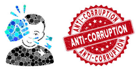 Mosaic head strike and grunge stamp watermark with Anti-Corruption caption. Mosaic vector is designed with head strike icon and with randomized spheric items. Anti-Corruption stamp uses red color,