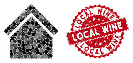 Mosaic home and grunge stamp seal with Local Wine text. Mosaic vector is composed with home icon and with random circle spots. Local Wine seal uses red color, and grunge design.