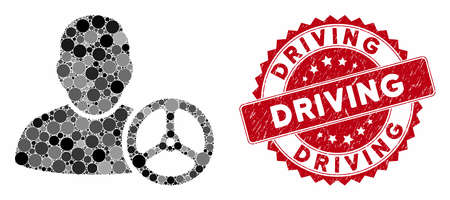 Collage driver wheel and grunge stamp seal with Driving text. Mosaic vector is created with driver wheel icon and with randomized spheric elements. Driving stamp seal uses red color, Illustration