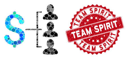Collage money recipients and rubber stamp watermark with Team Spirit text. Mosaic vector is formed with money recipients icon and with scattered circle elements. Team Spirit stamp seal uses red color, Standard-Bild - 134148982
