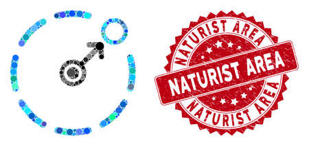 Collage circular area border and grunge stamp watermark with Naturist Area text. Mosaic vector is formed with circular area border icon and with randomized spheric items.