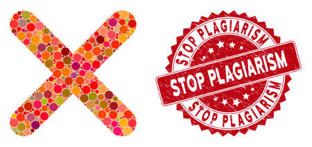 Mosaic delete and corroded stamp seal with Stop Plagiarism phrase. Mosaic vector is designed with delete icon and with randomized round spots. Stop Plagiarism stamp uses red color,
