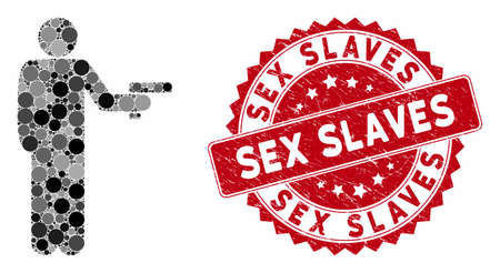 Mosaic robber with gun and distressed stamp seal with Sex Slaves phrase. Mosaic vector is composed with robber with gun icon and with scattered circle spots. Sex Slaves stamp uses red color,