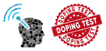 Mosaic radio neural interface and rubber stamp seal with Doping Test phrase. Mosaic vector is created with radio neural interface icon and with random circle spots. Doping Test seal uses red color,