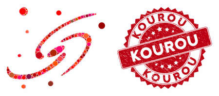 Mosaic galaxy system and corroded stamp seal with Kourou phrase. Mosaic vector is created with galaxy system icon and with scattered spheric elements. Kourou seal uses red color, and distress surface.