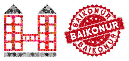Mosaic company building and distressed stamp seal with Baikonur caption. Mosaic vector is formed with company building icon and with random circle spots. Baikonur stamp seal uses red color,
