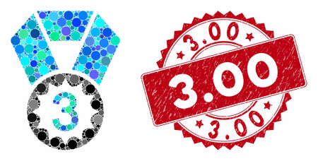 Mosaic third place and rubber stamp seal with 3.00 phrase. Mosaic vector is created from third place icon and with scattered spheric elements. 3.00 stamp uses red color, and grunge surface.