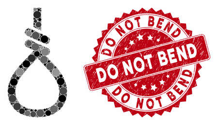 Mosaic loop knot and grunge stamp seal with Do Not Bend text. Mosaic vector is designed with loop knot icon and with randomized circle spots. Do Not Bend stamp seal uses red color, and grunge surface.