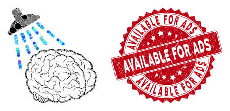 Mosaic brain washing and grunge stamp seal with Available for Ads phrase. Mosaic vector is composed with brain washing icon and with scattered circle spots.