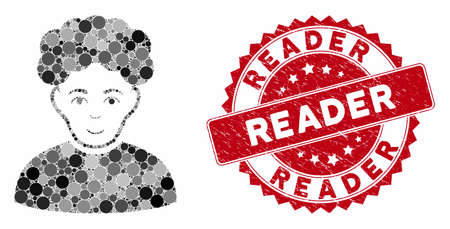 Mosaic brunet man and corroded stamp seal with Reader phrase. Mosaic vector is designed with brunet man icon and with randomized circle spots. Reader stamp seal uses red color, and distress texture. 向量圖像